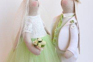"""Свадебная пара зайцев """"Подснежники ( нежность весны)"""" - Опис"""