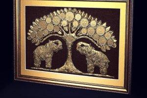 """Робота Картина денежное дерево """"Слоны""""."""