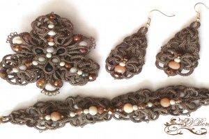 Комплект украшений брошь, браслет и серьги фриволите, анкарс - ІНШІ РОБОТИ