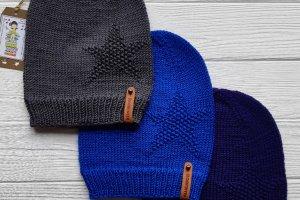 Робота Шапочки-бини (фиолетовая, синяя, серая)-100% меринос