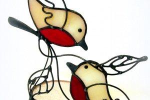 Свічник Вітраж Пара пташок 1 - Опис