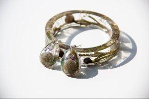 Комплект украшений из смолы с цветами (серьги и браслет) - ІНШІ РОБОТИ