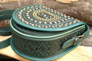 сумка шкіряна Тобівка метал зелена - Опис