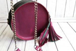 Круглая кожаная женская сумочка . - Опис