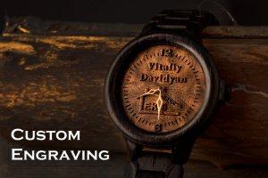 Робота Индивидуальная гравировка Деревянные наручные часы дуб