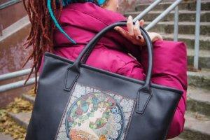 Кожаная сумка шоппер Плющ - Опис