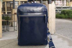 Небольшой кожаный рюкзак на 1 шлейку Синий - ІНШІ РОБОТИ