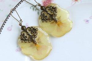 Сережки з квіточок Віола • Серьги желтые анютины глазки  - Опис
