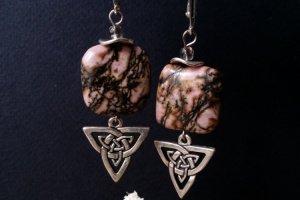 Рожеві сережки зі сріблом з родоніту - ІНШІ РОБОТИ