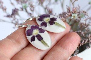 Срібні Білі Сережки з  чарівним фіолетовим флоксом - Опис