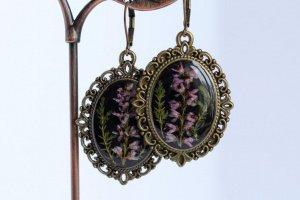 Чорні Сережки з фіолетовим вересом • серьги с вереском - Опис