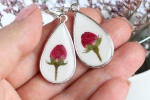 Сережки краплі з трояндами • белые серьги капли с розами - Опис