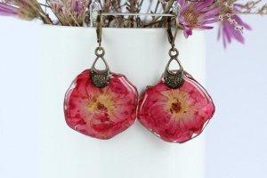 Робота Червоно - малинові сережки з трояндами • Серьги  розы