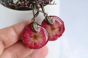 Робота Сережки з квіточок троянди • Серьги красные розы