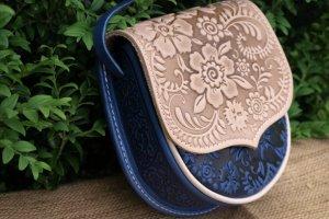 Робота сумка шкіряна Софійка синьо- бежева