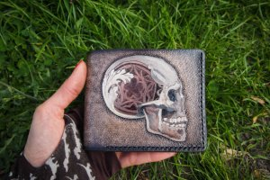 Кожаный кошелек Готический череп - Опис