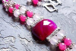 Комплект з натуральних агатів браслет і сережки - ІНШІ РОБОТИ