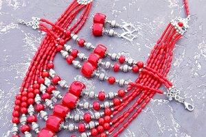Комплект натуральних коралів намисто браслет сережки - ІНШІ РОБОТИ