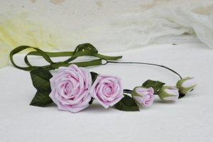 Венок на голову с розовыми розами, Обруч с цветами  - Опис
