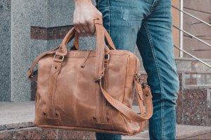 Коричневая кожаная сумка для ноутбука, кожаный портфель - ІНШІ РОБОТИ