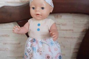 Робота Одежда для кукол Беби Борн. Платье и повязка.