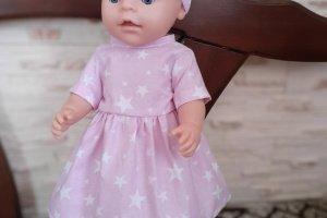 Робота Розовое платье для кукол Беби Борн. Платье и повязка.