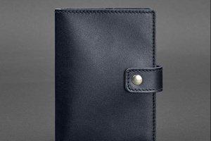 Робота Кожаная обложка для паспорта 5.0 (с окошком) темно-синяя