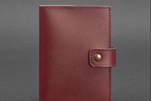 Робота кожаная обложка для паспорта 5.0 (с окошком) бордовая Краст