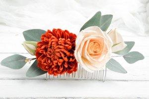 Робота Гребень для волос с цветами и листьями эвкалипта