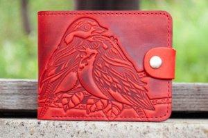 Робота Маленький Кошелек кожаный красный женский с птичками