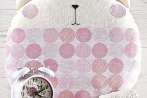 Робота Розовая подушка котик, круглая подушка в детскую