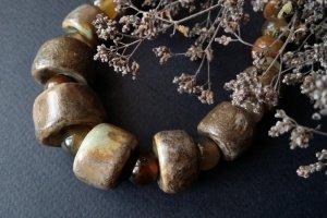 Робота Намисто Шоколадний зефір з кераміки та агатів