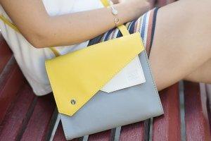 "Сумка ""Frida"", серая сумка, желтая сумочка"