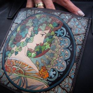 Кожаная сумка шоппер Плющ