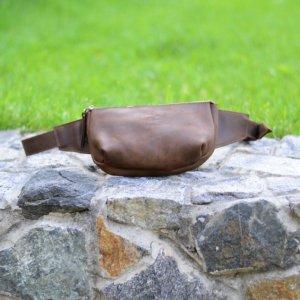Робота Поясная сумка из коричневай кожи, Кожаная бананка