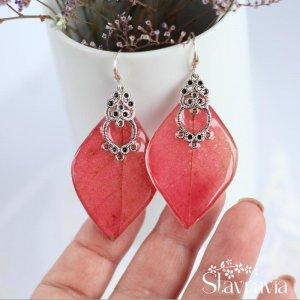 Робота Червоні мідні сережки з листочків дикого винограду