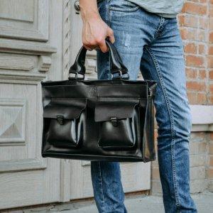 Робота Премиальная кожаная мужская сумка  Черный мужской портфель
