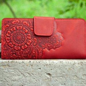 Робота Кошелек женский кожаный красный длинный с узором