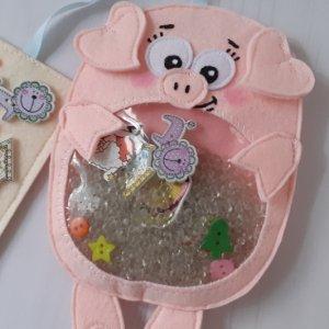 Робота Игрушка искалка из фетра свинка. Розовый поросенок. Хрюшка.