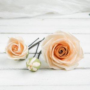 Робота Шпильки для волос с цветами, Розы в прическу для невесты