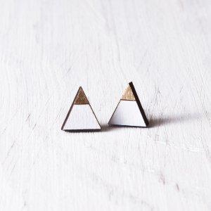 Робота Сережки гвоздики треугольники белые с золотом