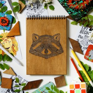 Блокнот Єнот, деревянный блокнот Етон, с деревянной обложкой